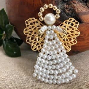 Vintage Faux Pearl and Goldtone Angel Brooch